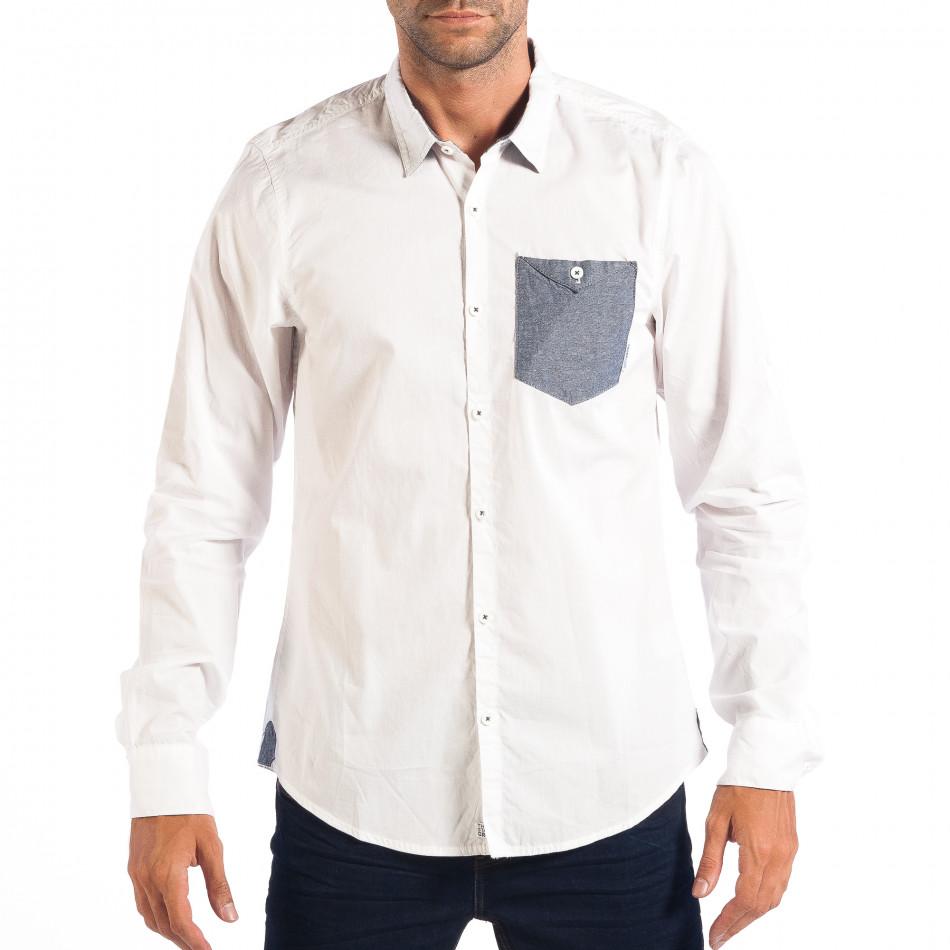 Мъжка риза с контрастен джоб CROPP в бяло lp070818-104