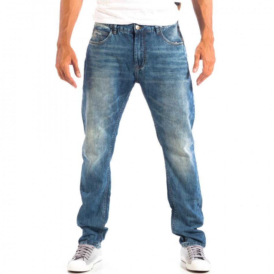 Мъжки сини дънки House с изтъркан ефект lp060818-52