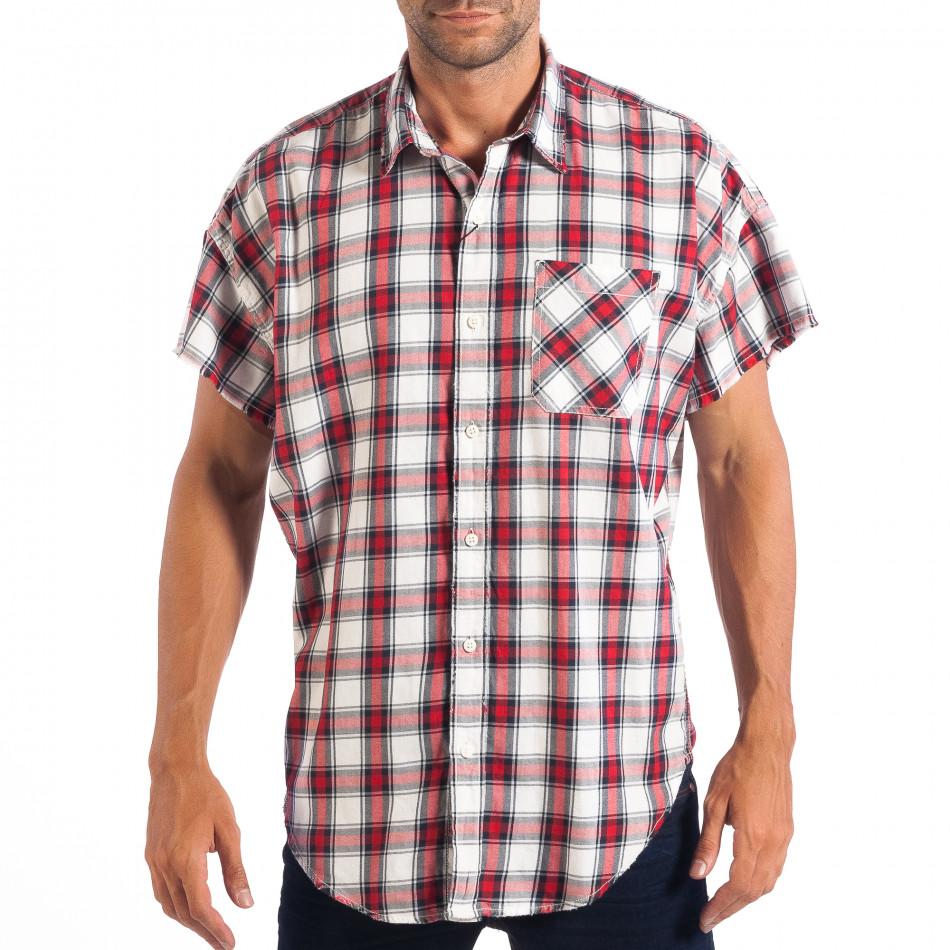 Regular риза с къс ръкав RESERVED червено каре lp070818-127