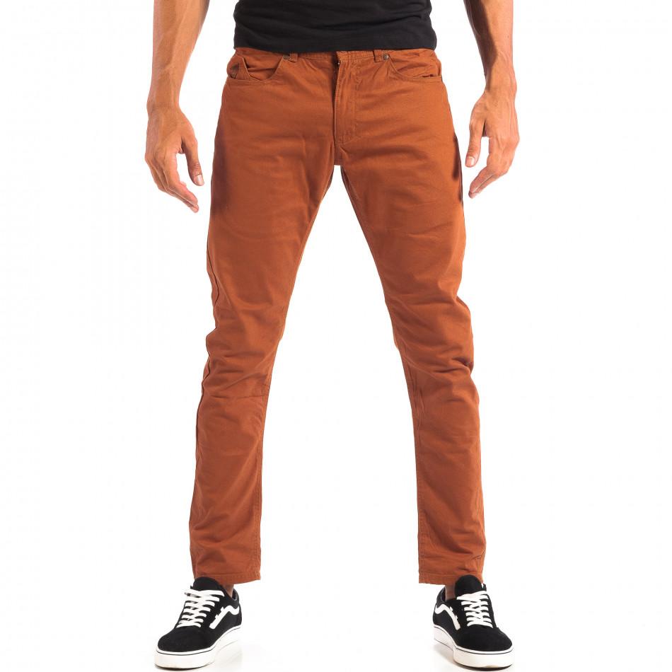 Мъжки тънък панталон CROPP в цвят камел lp060818-109