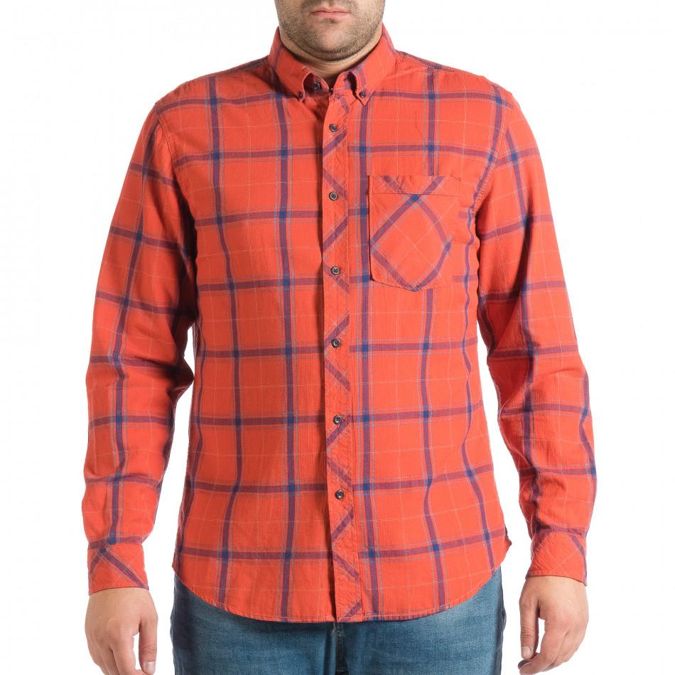 Мъжка риза с копчета на яката RESERVED в червено каре lp290918-172