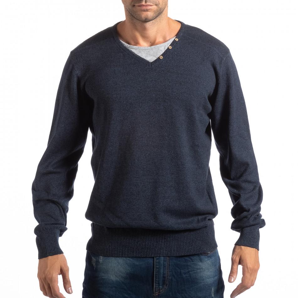 Мъжки син пуловер House с двойно деколте lp290918-95