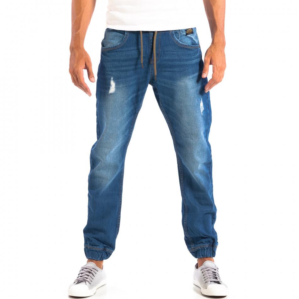 Jogger мъжки дънки CROPP в синьо със скъсвания lp060818-31