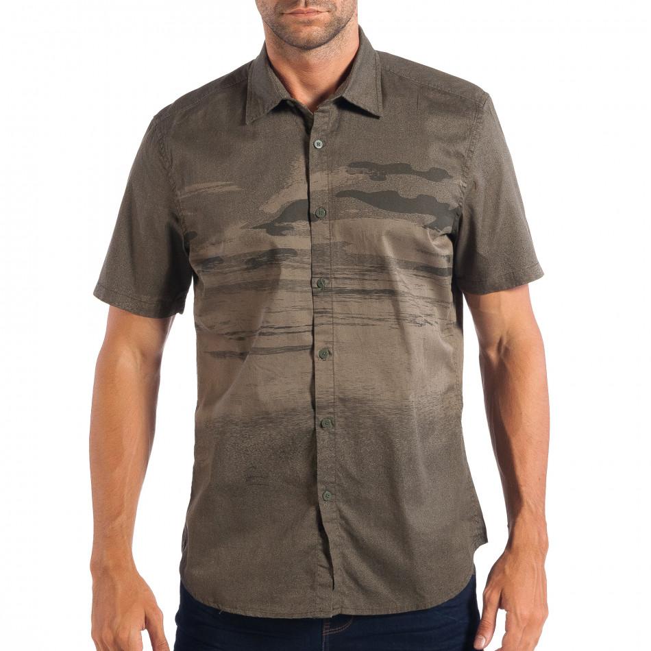 Зелена риза с къс ръкав Slim fit RESERVED с принт lp070818-122