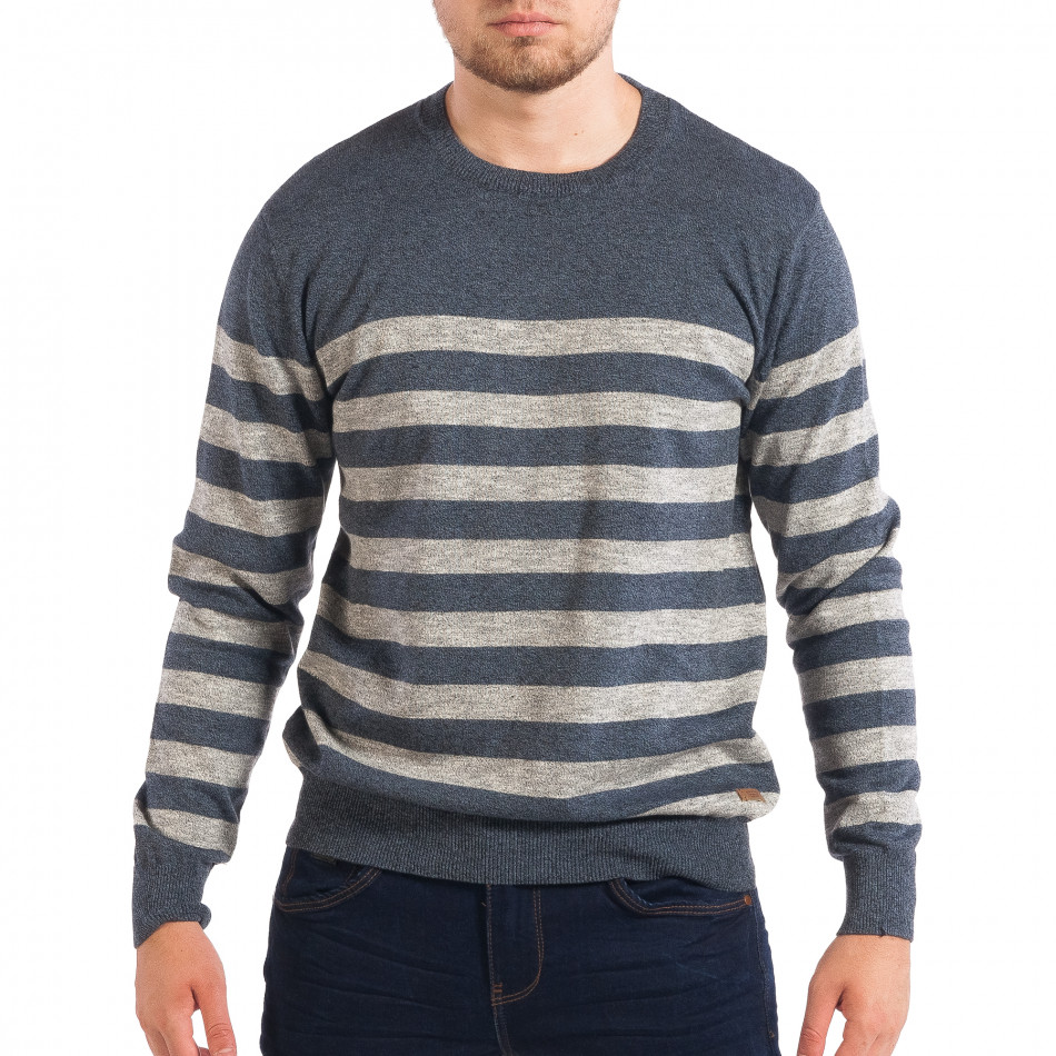 Мъжки син пуловер House на широко райе lp070818-60