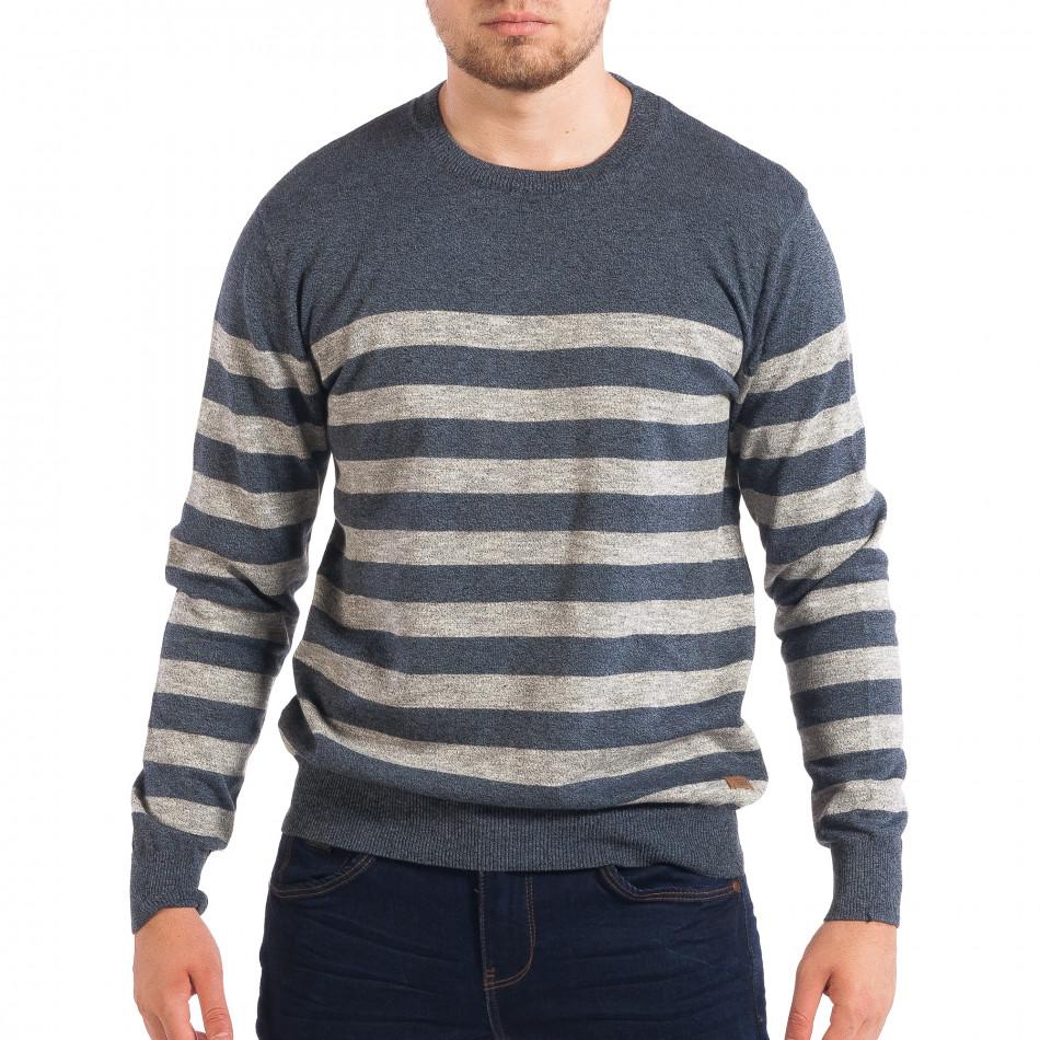 Мъжки син пуловер на широко райе lp070818-60