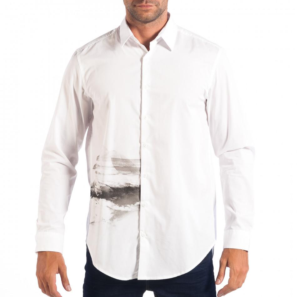 Мъжка бяла риза Regular fit с принт lp070818-121