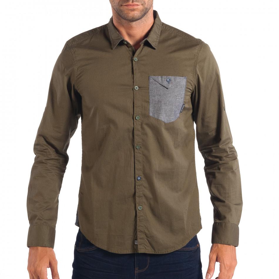 Мъжка риза с контрастен джоб CROPP в зелено lp070818-105