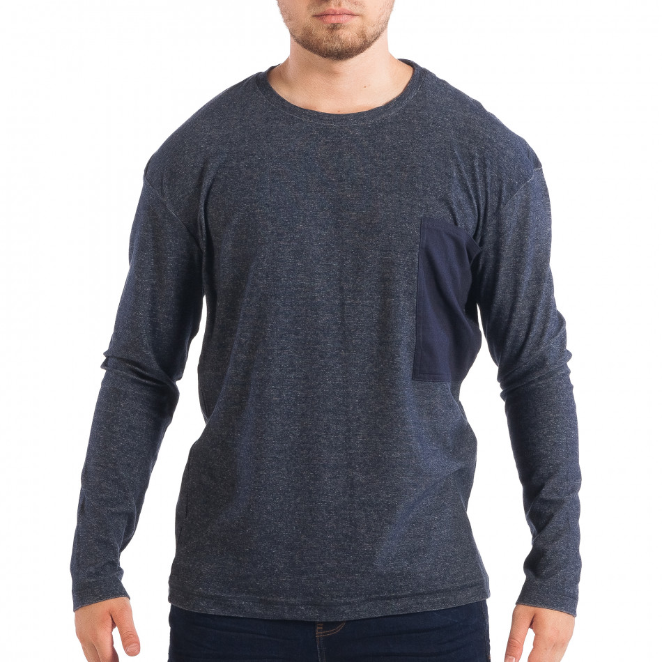 Мъжка блуза RESERVED в син меланж с джоб lp070818-49