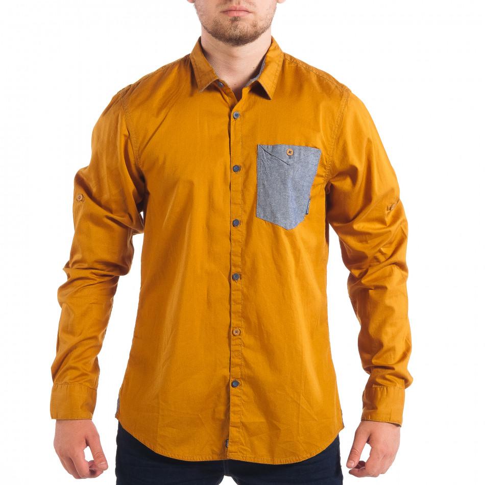 Мъжка риза с контрастен джоб CROPP в цвят камел lp070818-102