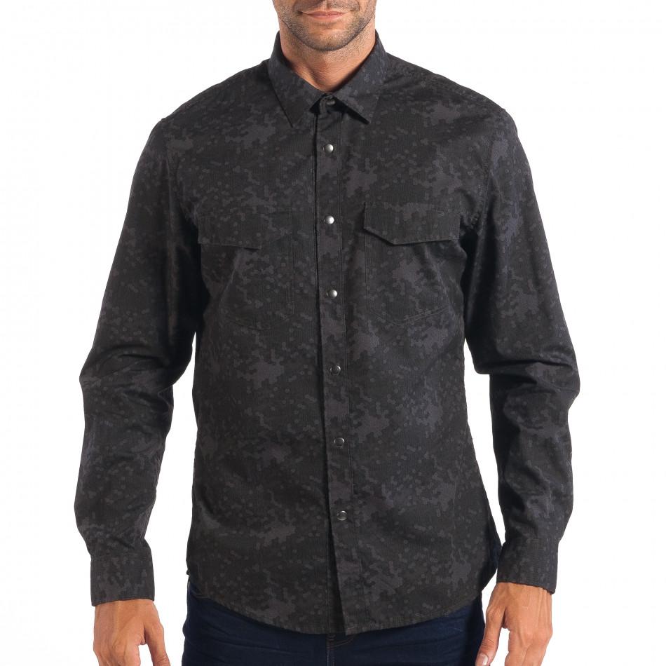 Мъжка риза RESERVED сив камуфлаж lp070818-117
