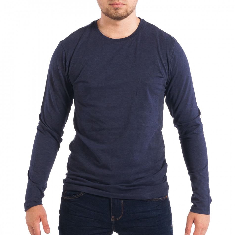 Мъжка синя блуза с джоб lp070818-46