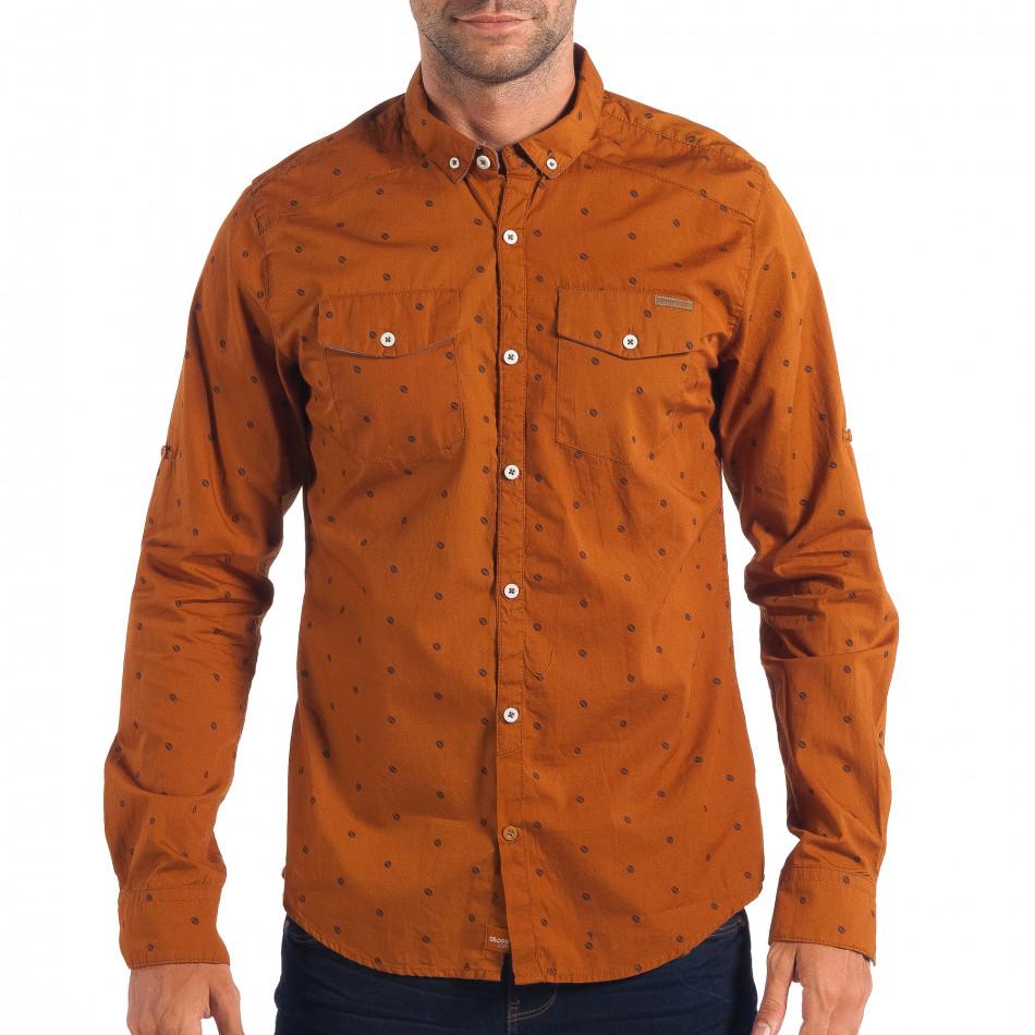 Мъжка Slim fit риза CROPP в цвят камел lp070818-109
