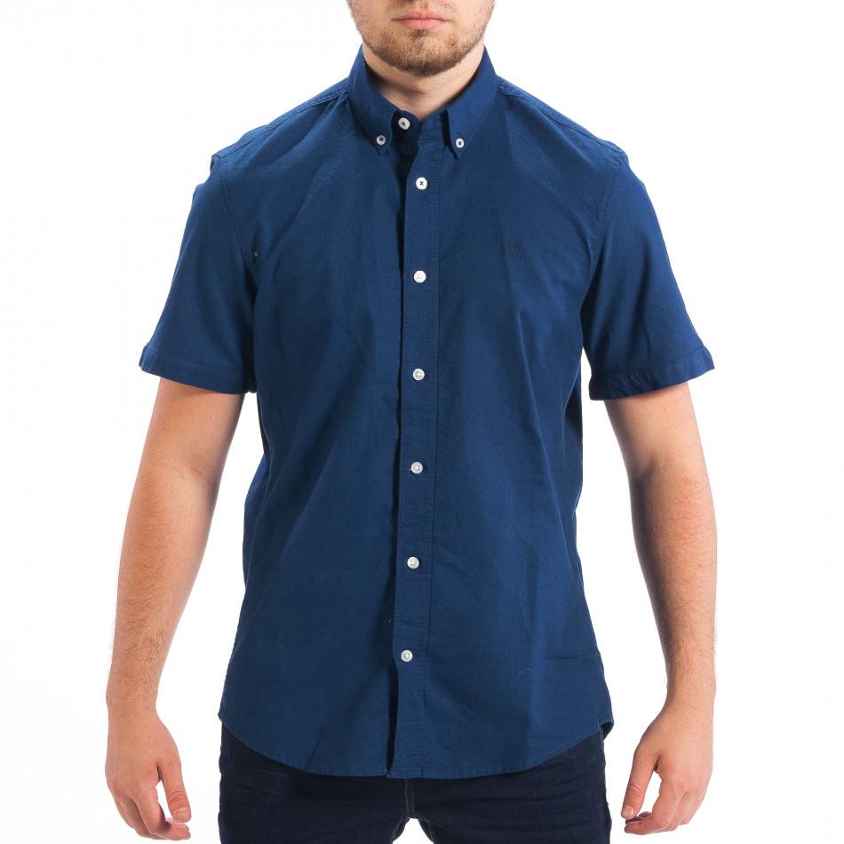 Regular риза с къс ръкав RESERVED в морско синьо lp070818-146