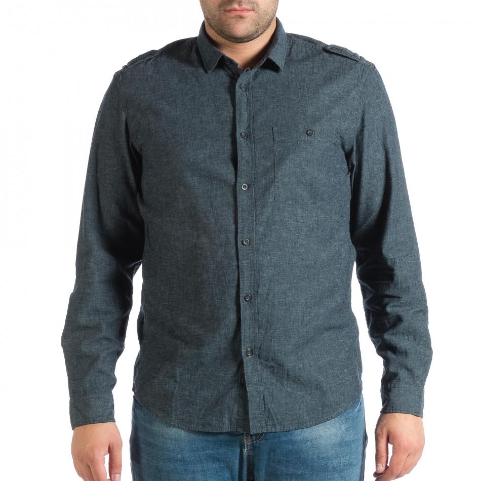 Синя мъжка риза Regular fit RESERVED с пагони lp290918-175
