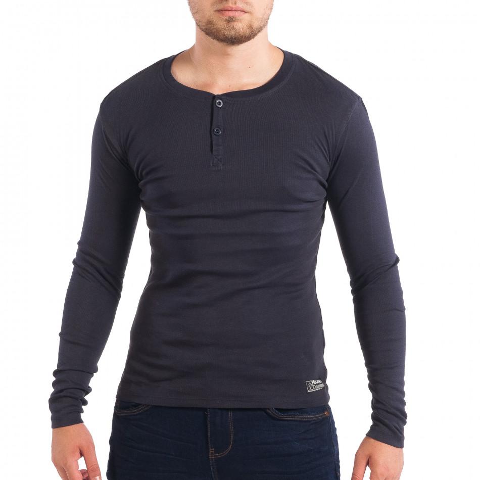 Еластична мъжка блуза House в синьо lp070818-30