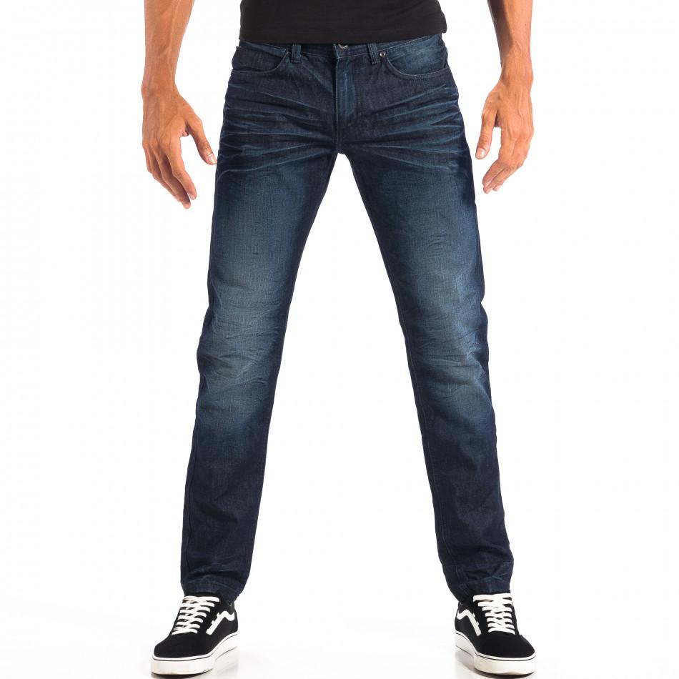 Мъжки сини дънки Reserved с намачкан ефект lp060818-1