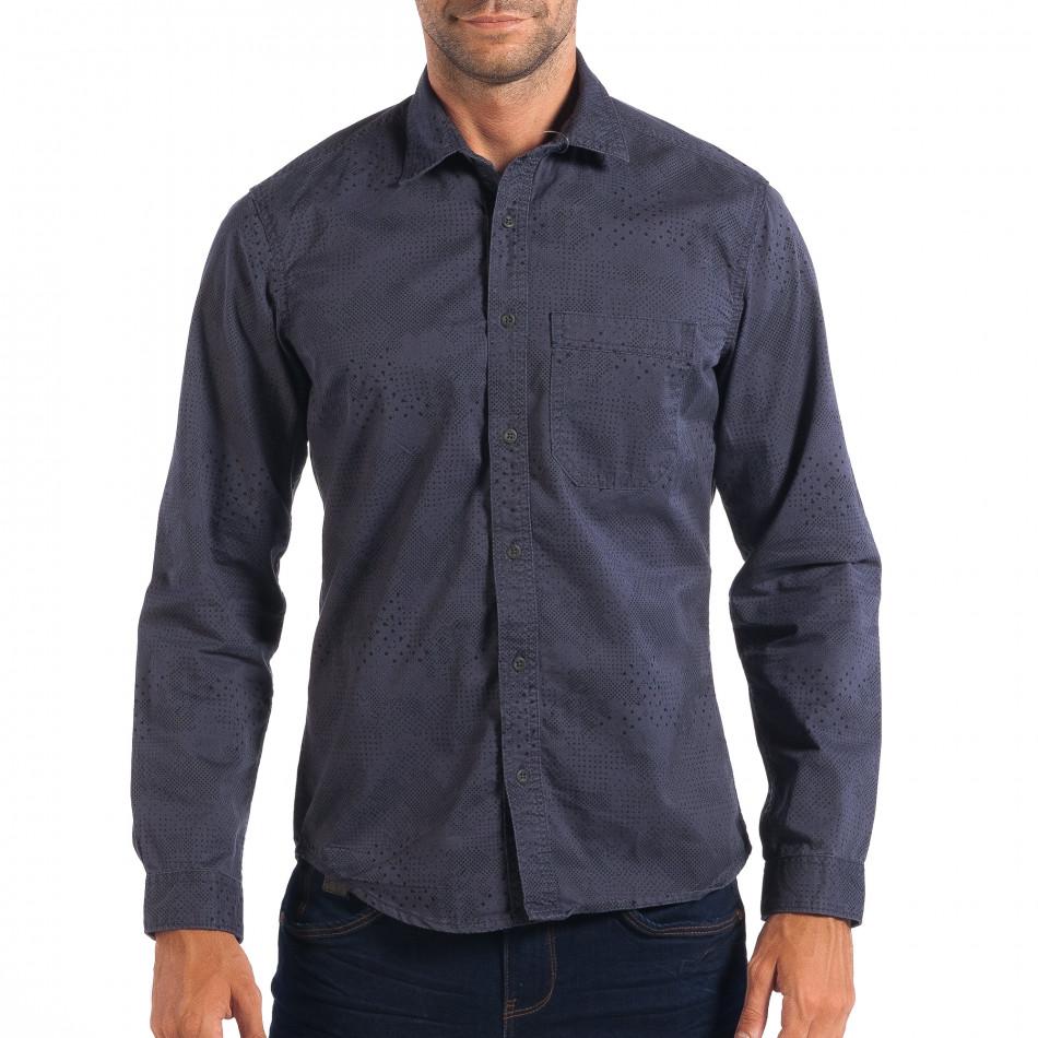 Regular риза RESERVED в синьо с дребен десен lp070818-113