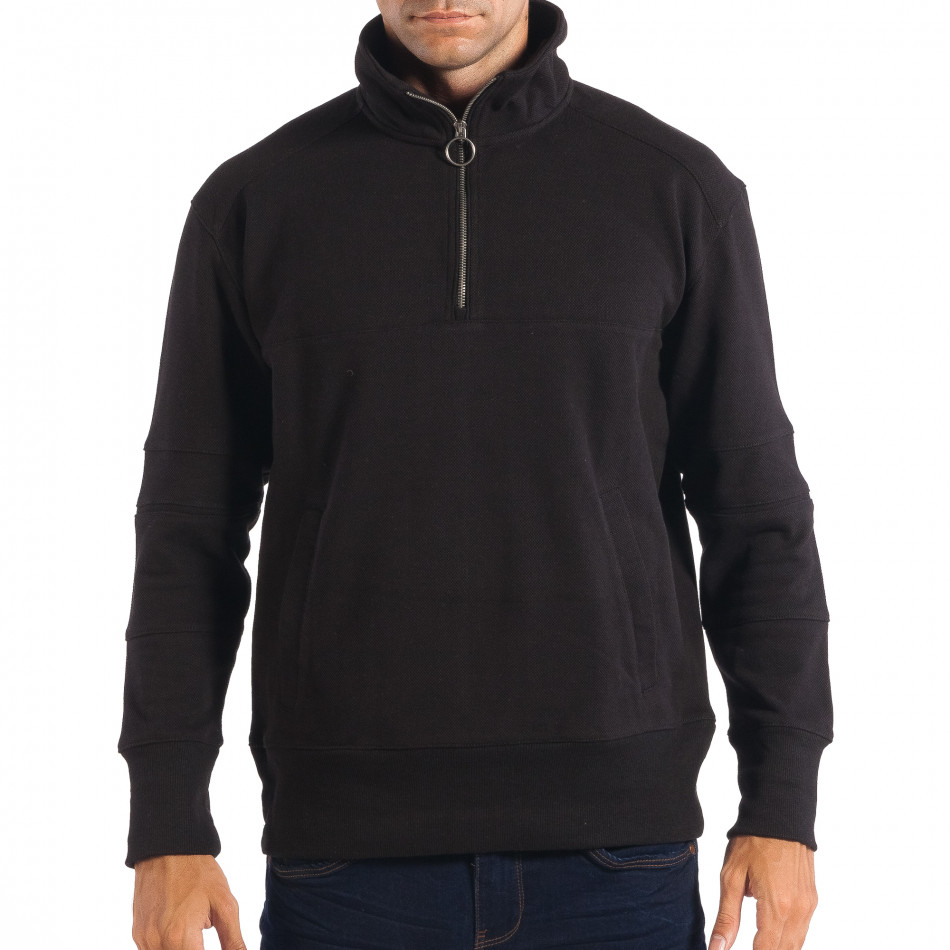 Мъжки черен суичер RESERVED с общ джоб lp080818-105