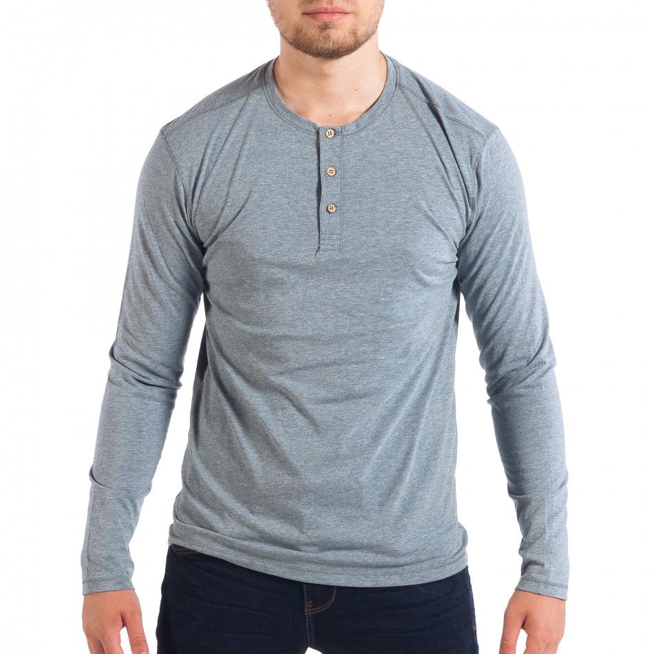 Мъжка блуза в син меланж с копчета lp070818-50