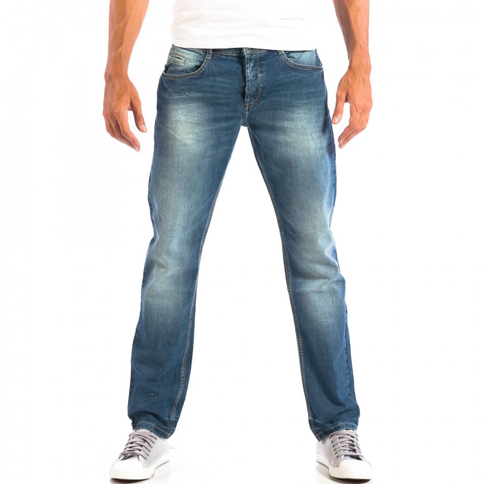 Мъжки сини дънки Reserved Regular fit с избелял ефект lp060818-69