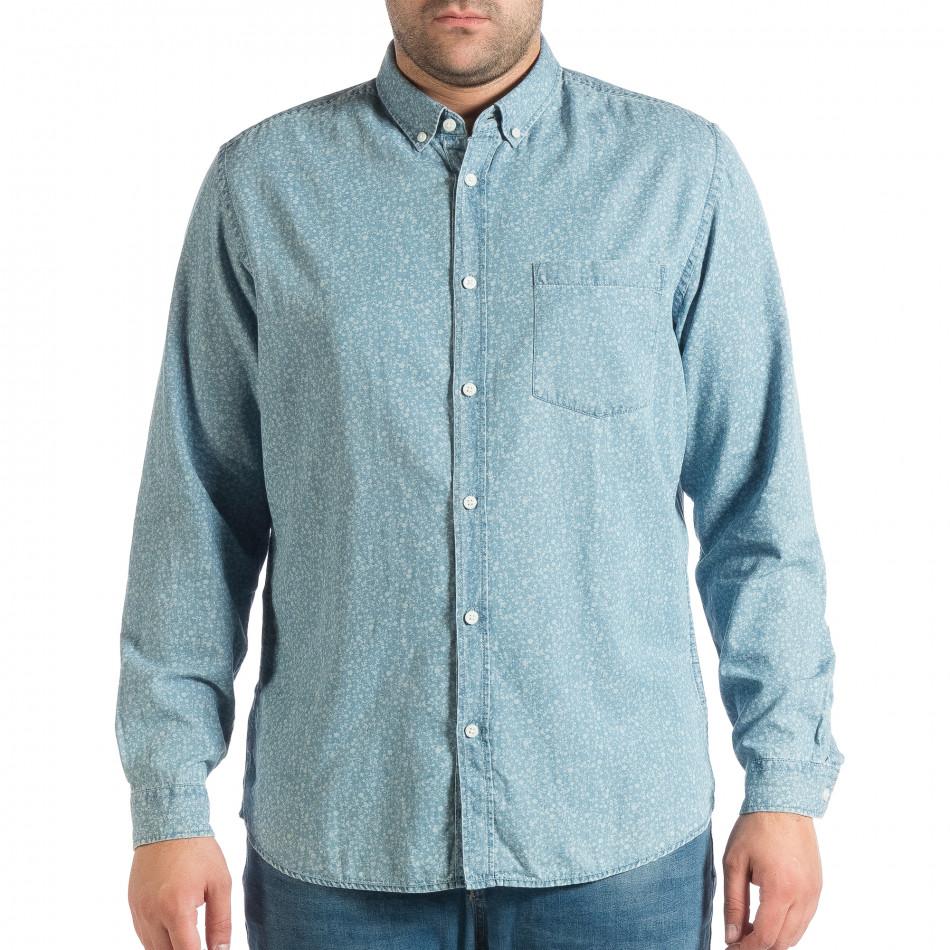 Мъжка дънкова риза Slim fit с десен lp290918-178