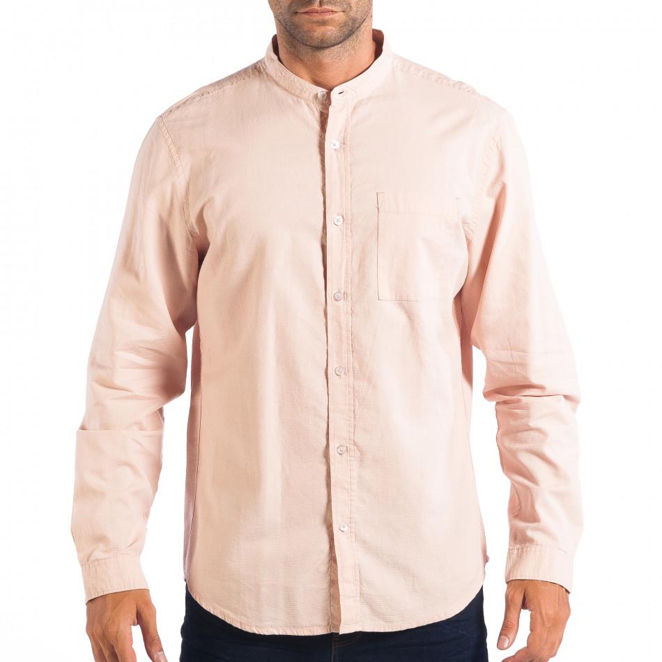 Regular риза със столче яка RESERVED в розово lp070818-124