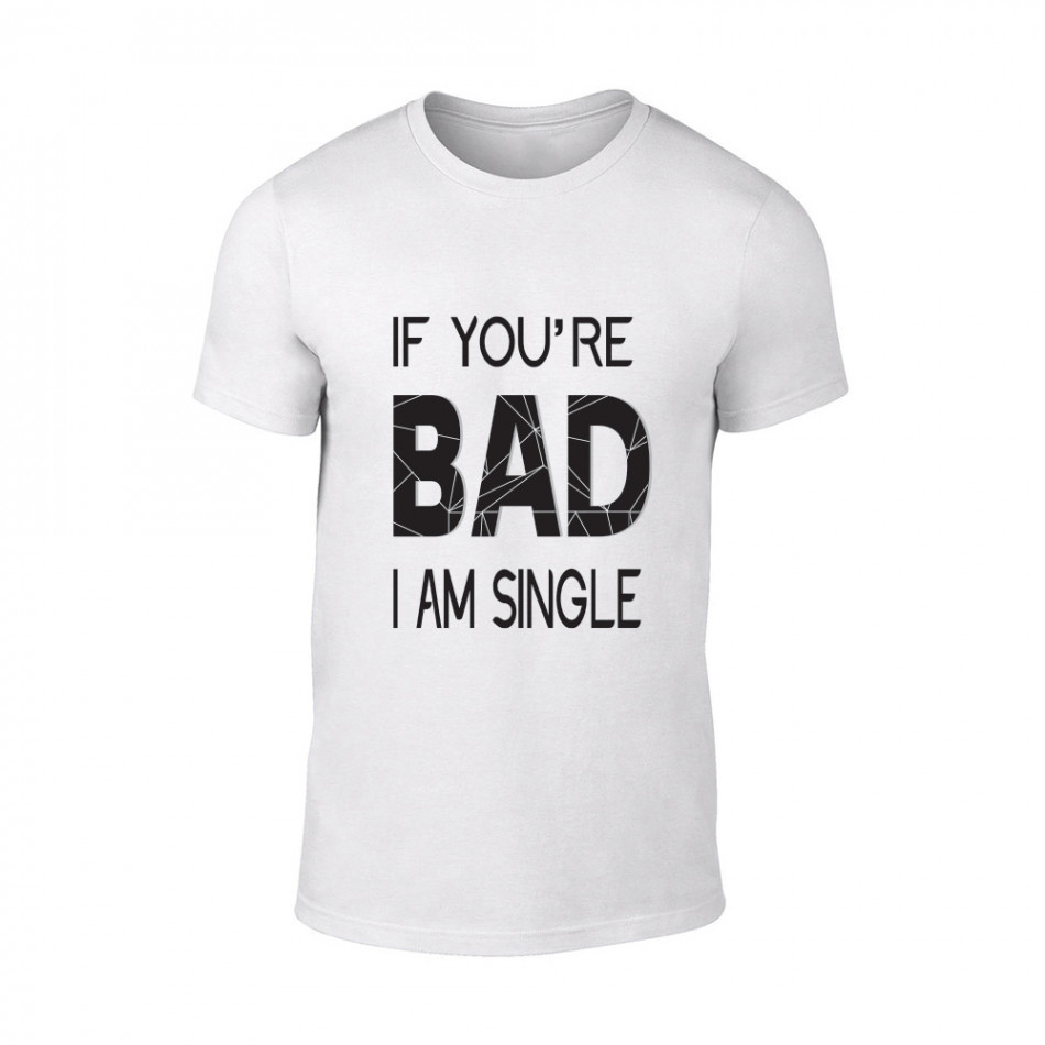 Мъжка бяла тениска Bad, размер L TMNSPM131L