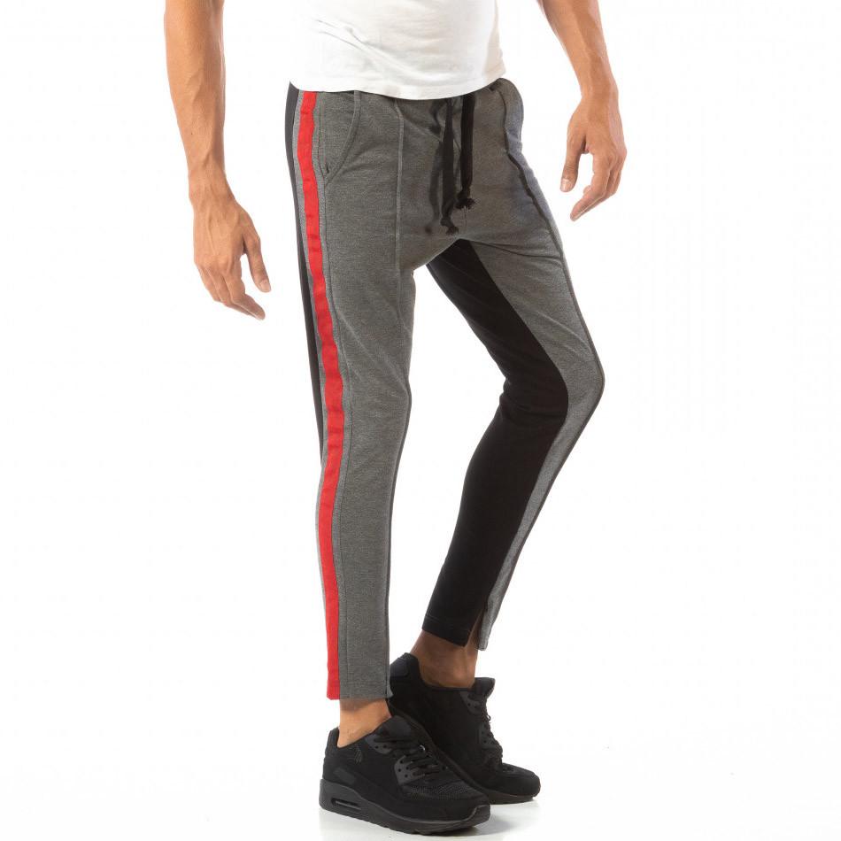 Мъжки Jogger в сиво и черно с червен кант it240818-100