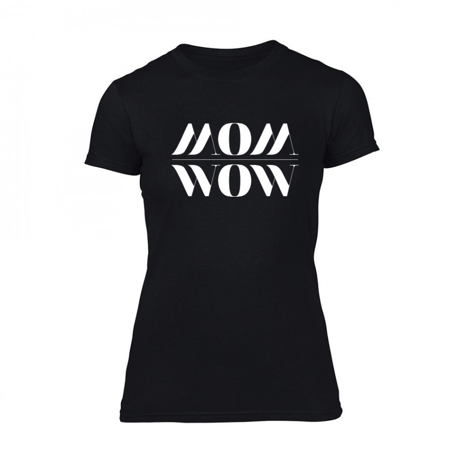 Дамска черна тениска Mom Wow TMN-F-094