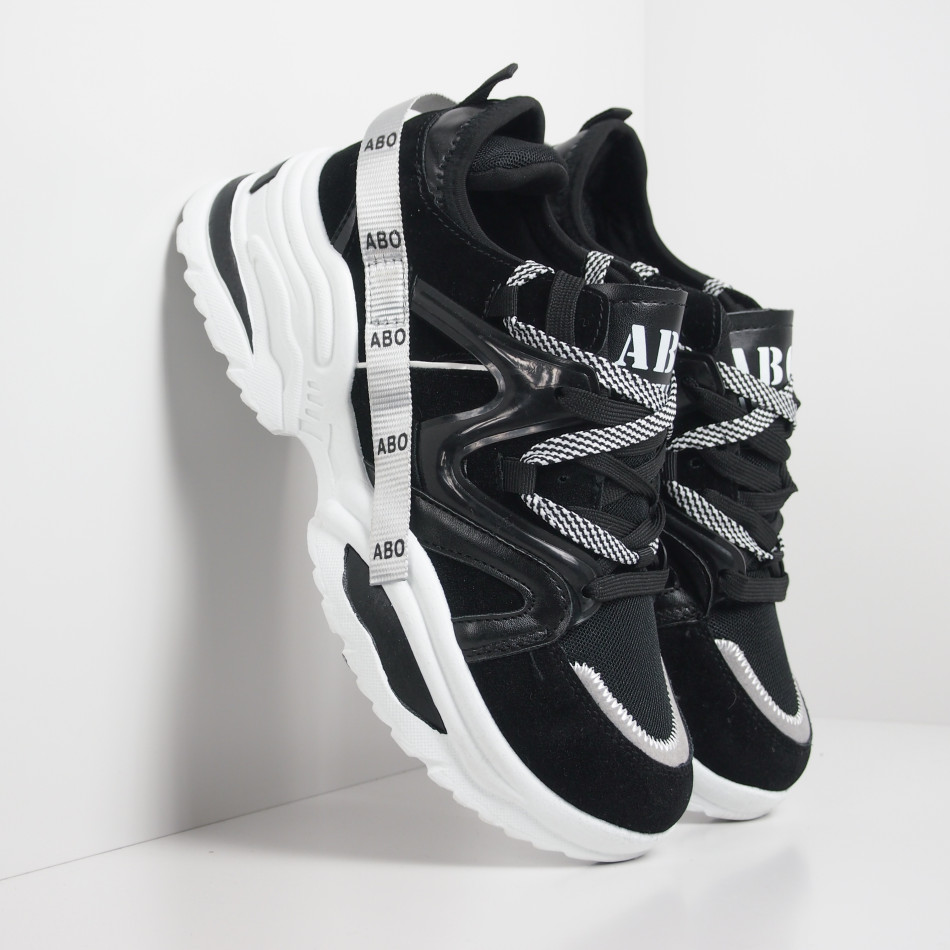 Мъжки черни маратонки Chunky дизайн it130819-29