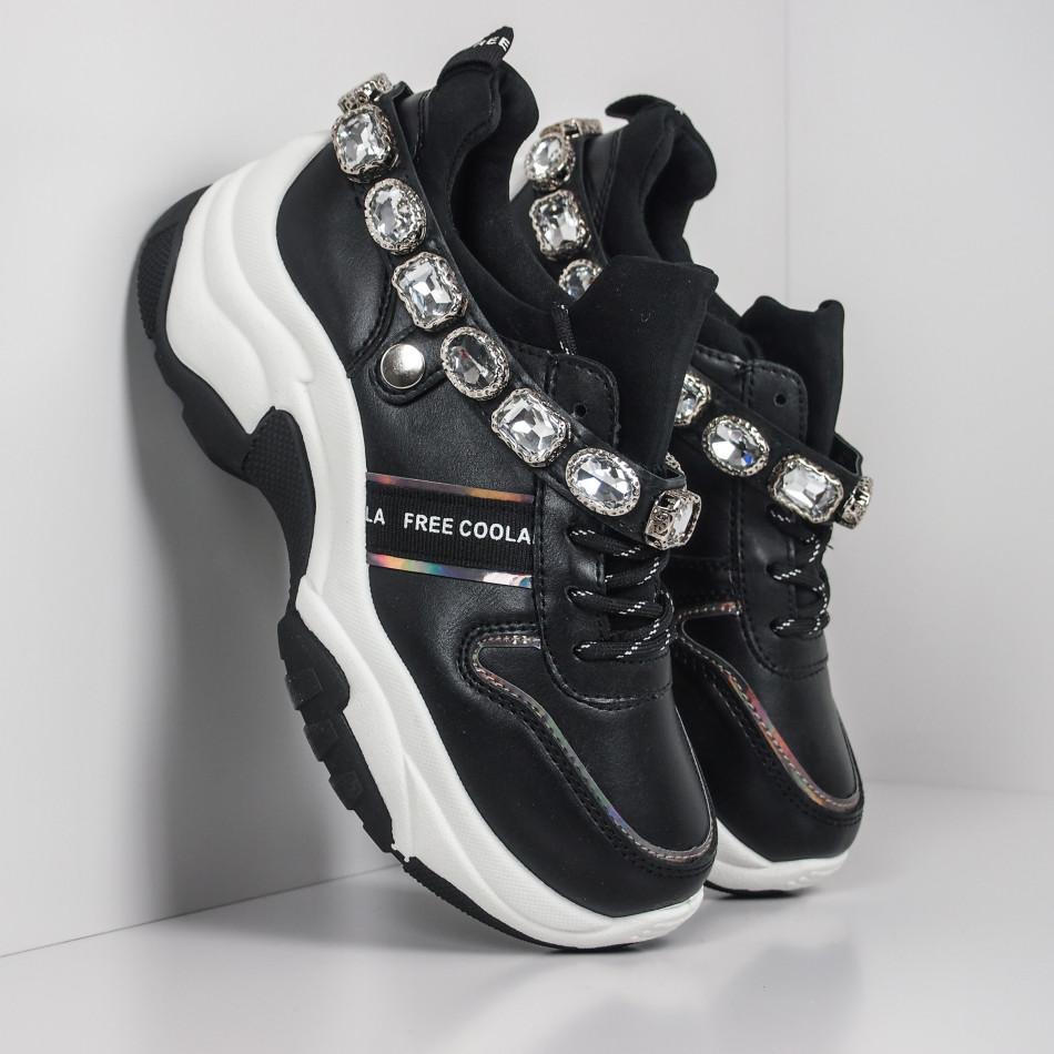 Черни дамски маратонки с камъни it260919-62
