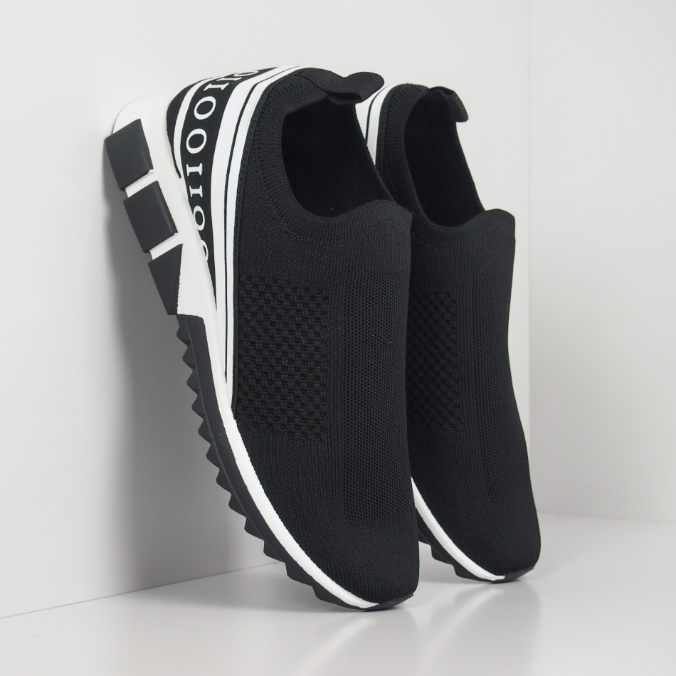 Slip-on черни мъжки маратонки бял кант it260919-6
