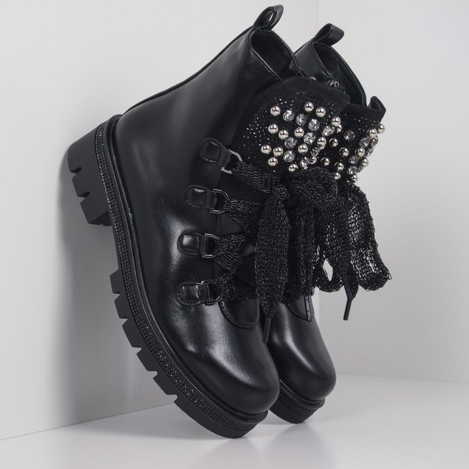 Черни дамски боти с камъни полирана кожа it260919-76