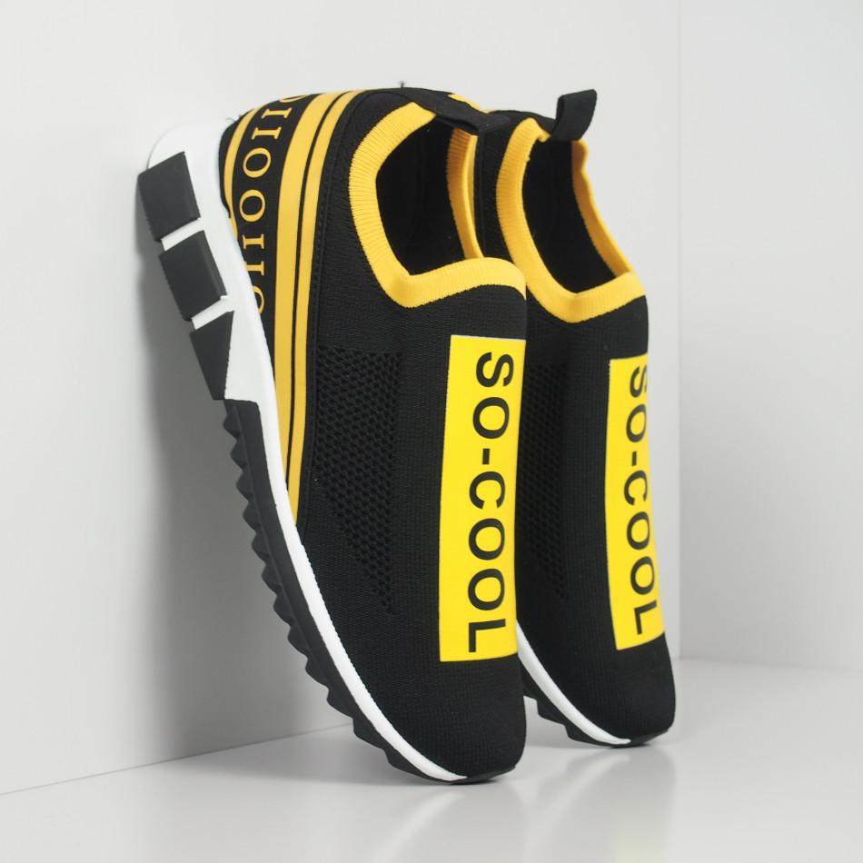 Slip-on черни мъжки маратонки жълт кант it260919-7