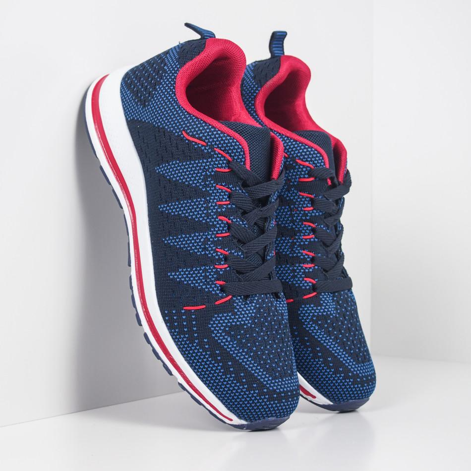 Плетени мъжки маратонки в синьо и червено it251019-6