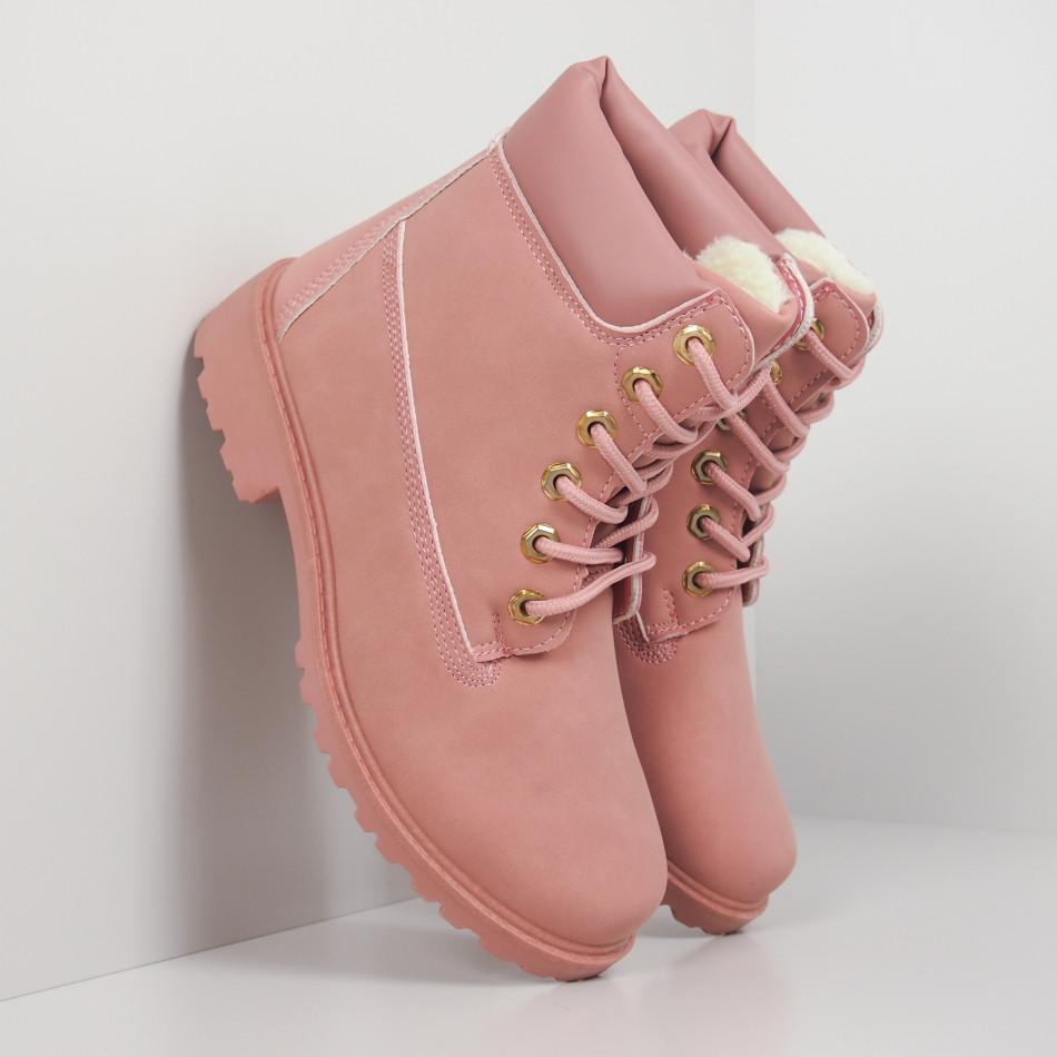 Дамски розови боти с подплата it260919-52