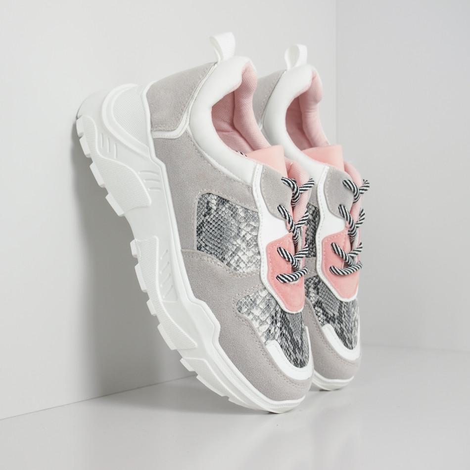 Сиво-розови дамски маратонки Snake мотив it110919-14