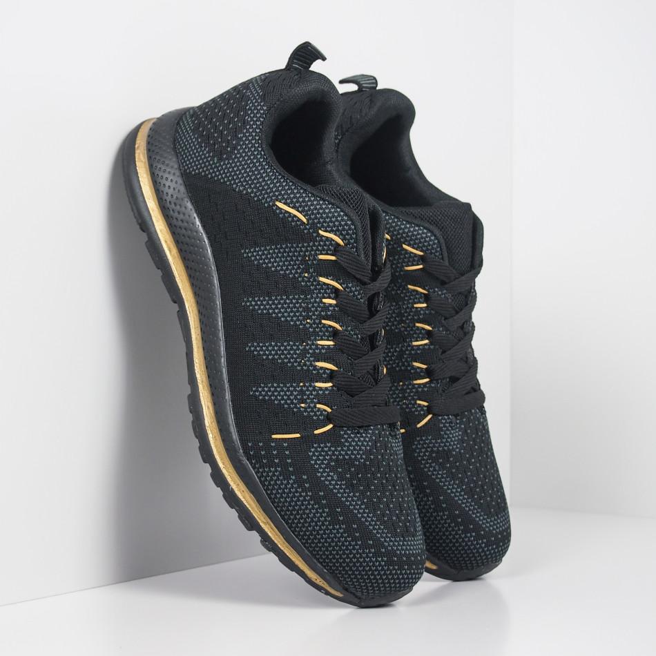 Плетени мъжки маратонки в черно и златисто it251019-5