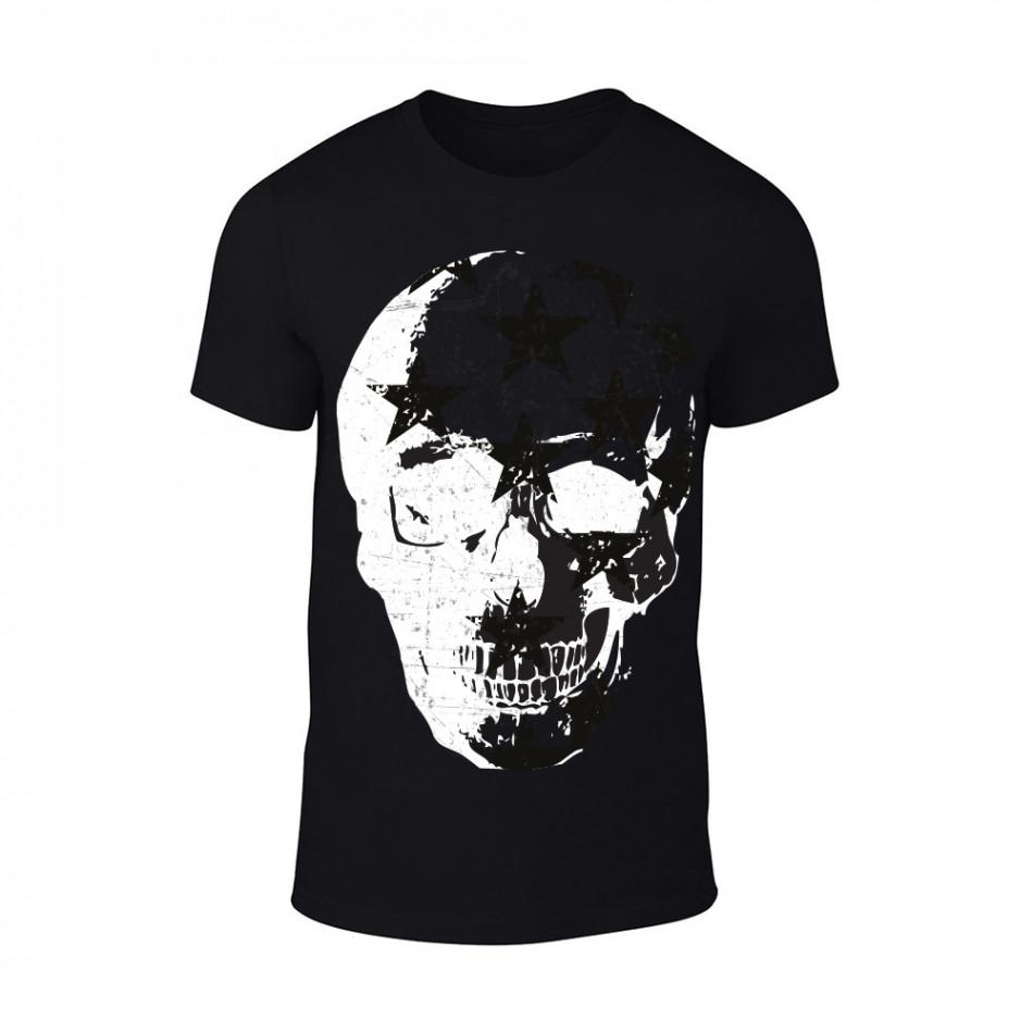 Мъжка черна тениска Skull TMN-M-100