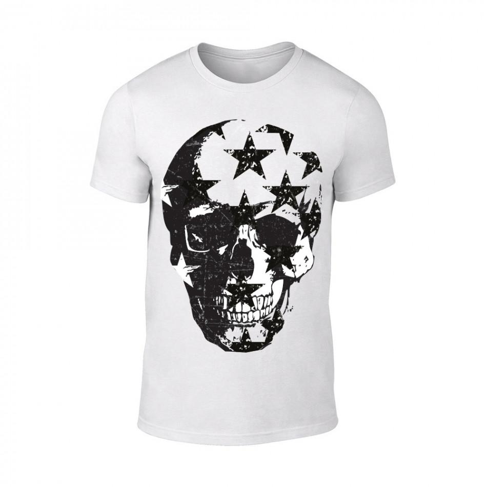 Мъжка бяла тениска Skull TMN-M-099