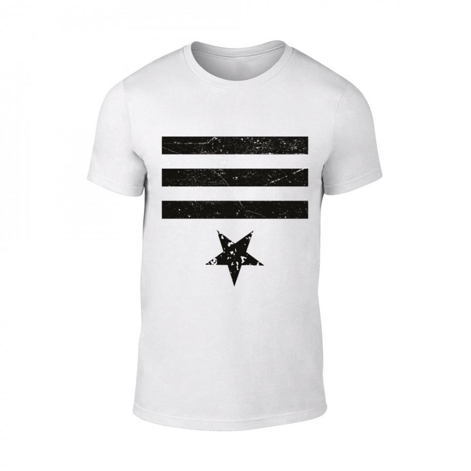 Мъжка бяла тениска Star 3 TMN-M-085