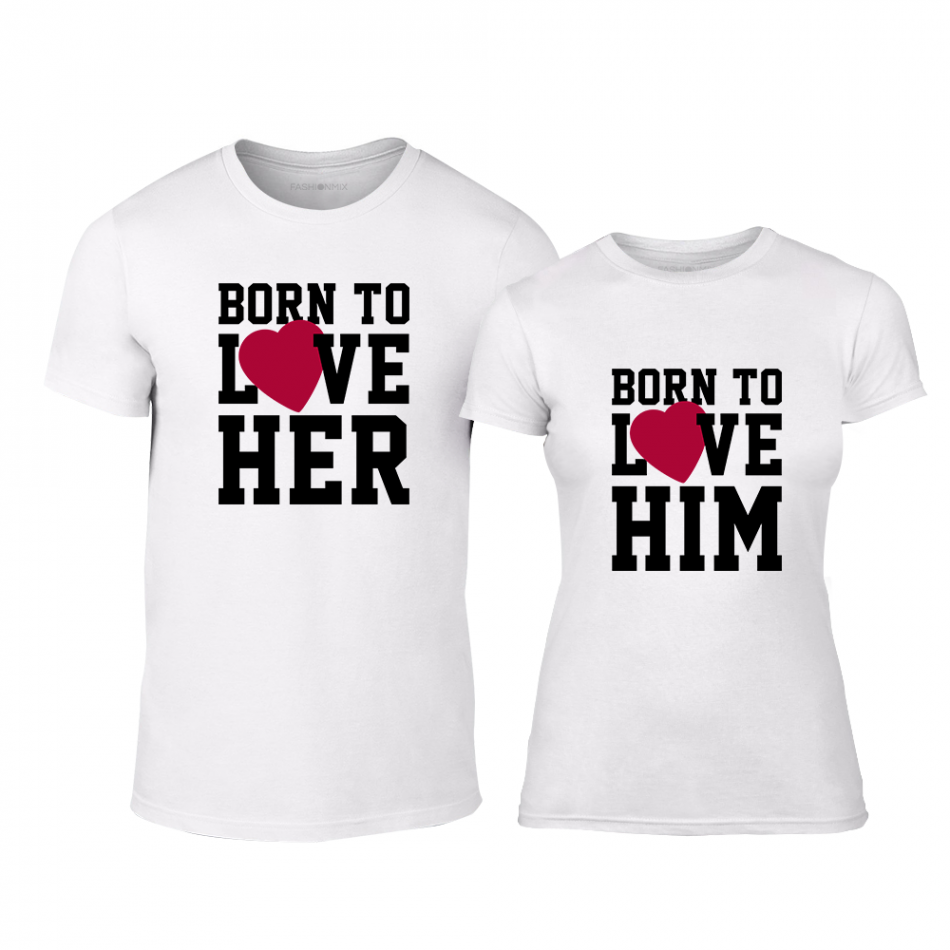 Тениски за двойки Born to love бели TMN-CP-211
