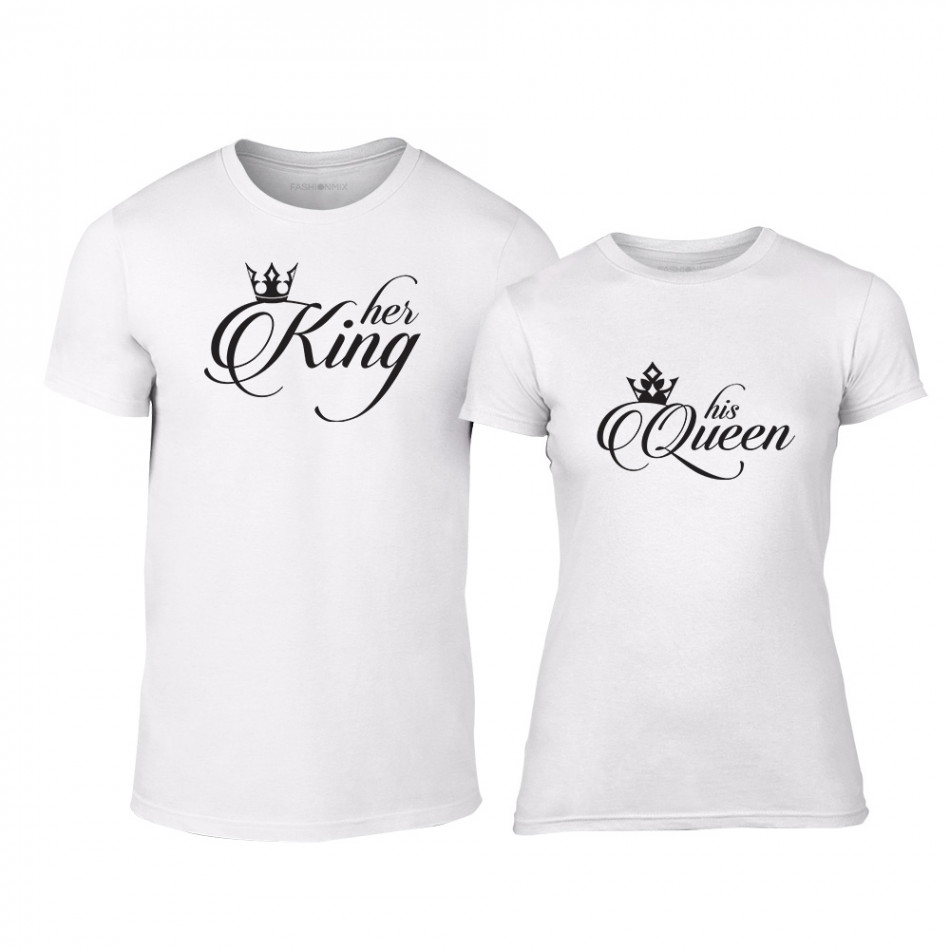 Тениски за двойки King & Queen бели TMN-CP-013