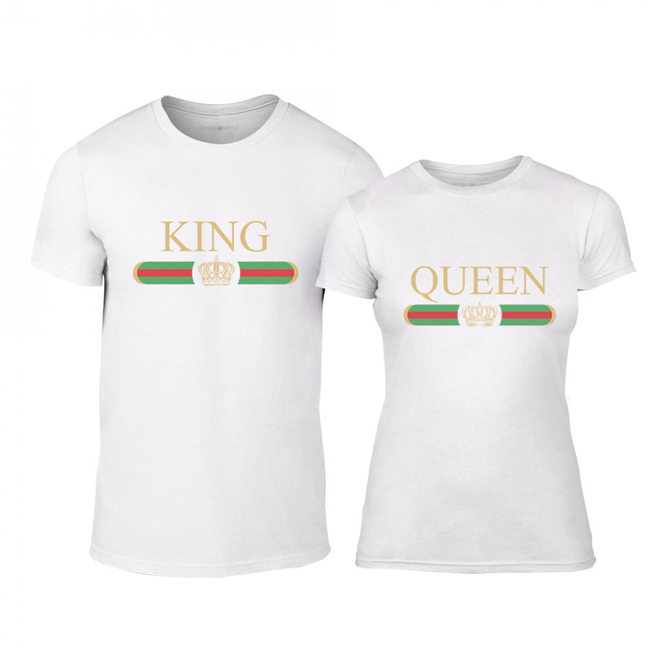Тениски за двойки Fashion King Queen бели TMN-CP-244