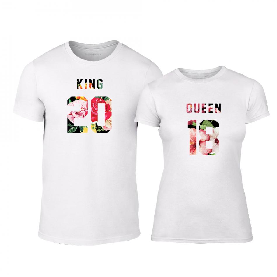 Тениски за двойки King & Queen 2018 бели TMN-CP-217