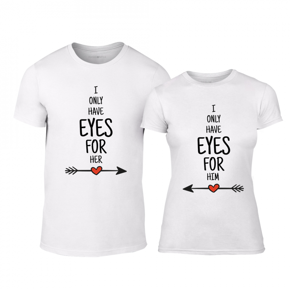 Тениски за двойки Eyes For You бели TMN-CP-258