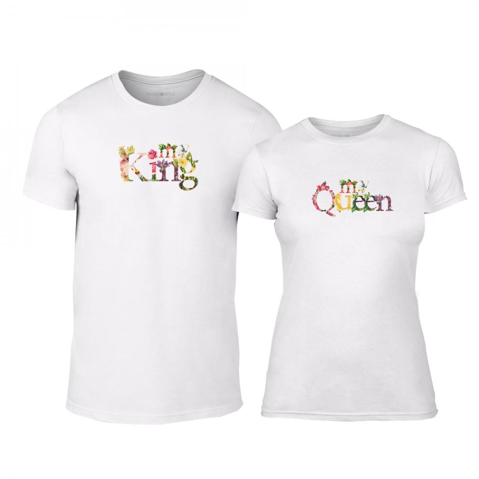 Тениски за двойки My King My Queen бели TMN-CP-221