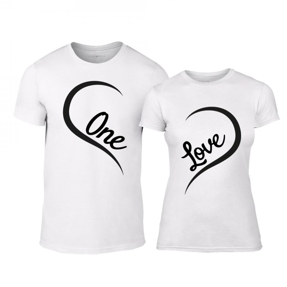 Тениски за двойки One Love бели TMN-CP-242