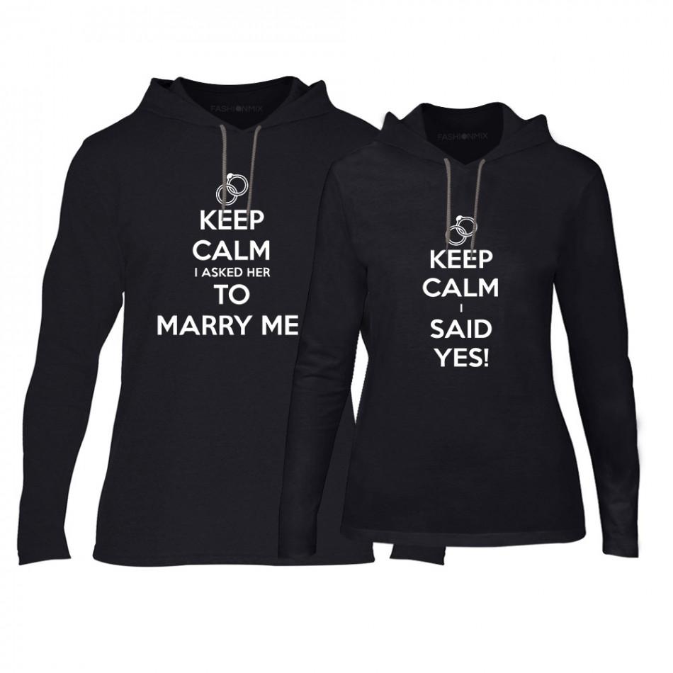 Суичъри за двойки Keep Calm в черно TMN-CPS-158